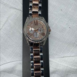 New York & Co. Silver & Rose Gold Rhinestone Watch